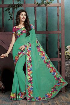 Description: Buy green georgette casual saree with best price at Variation. Huge collection of designer sarees online shopping, wedding sarees, party wear sarees and bridal saree designs with blouse.