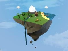 low poly mountain floating island flat minimalist simplistic cinema 4d mathieu legault simple my own little world