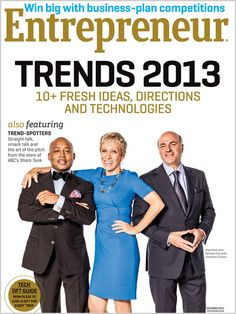 Entrepreneur magazine December 2012 featuring the sharks from Shark Tank on ABC. Barbara Corcoran, Kevin O'Leary, Daymond John, Lori Greiner, Robert Herjavec, and Mark Cuban