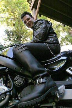Leather Men Motard Francais
