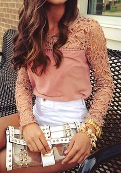 Neutral Pink Crochet Shoulder Top - This intricate crochet top is here to add spice to your fall wardrobe collection. Trimmed with delicate crochet lace from shoulders down to the sleeves, this blouse looks perfect with skinnies.