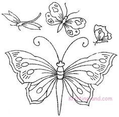 Free Embroidery Pattern: Butterflies and Dagonflies Set 3 c1940