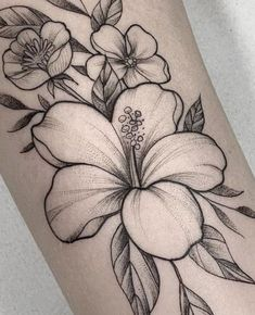 Hawaiin Flower Tattoo, Plumeria Flower Tattoos, Tropical Flower Tattoos, Lily Flower Tattoos, Flower Thigh Tattoos, Flower Tattoo Shoulder, Sunflower Tattoos, Flower Tattoo Women, Floral Tattoo Design
