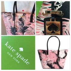 Kate Spade Jules Tote LARGE NWT! New with tags! Authentic from Kate Spade. Large tote with top zip closure. Color black and pink, always chic and trendy. Fully lined.  No trades ✅Tags are attached kate spade Bags Totes
