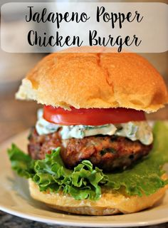 Jalapeno Popper Chicken Burgers.  Bacon, chicken and jalapenos ground together, grilled and topped with jalapeno cream cheese. #VivaLaMorena [ad]