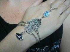 hamsa hand evil eye slave bracelet lblue by gildedingypsy on Etsy, $28.00