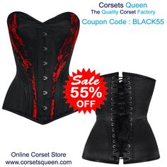 Fresh New Design - Waist Taiming Corset, Neriah Satin Overbust Black/Red Net Corset Plus Size Waist Training, Waist Training Cincher, Black Corset Dress, Wedding Corset, Plus Size Corset, Steampunk Corset, Underbust Corset, Satin