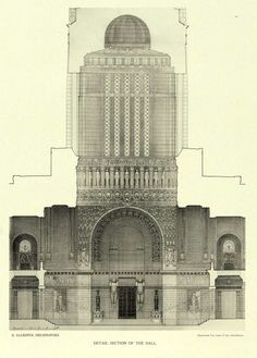 Section of a projected Peace Palace, The Hague