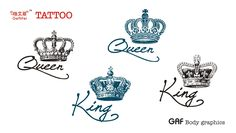 Ge Yifei Tattoo King and Queen crown alphabetical men waterproof tattoo stickers Lynx