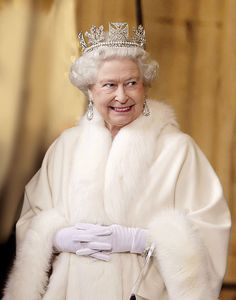 Queen Elizabeth. She looks so pretty and a little sneaky!