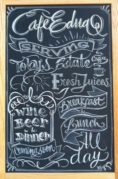 Chalk design by Carolina Ro #sign #branding #cafe #coffee #calligraphy #typography #restaurant #menu #chalkboard #chalkart #art #wine #beer #handmade