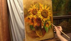 Янтарные подсолнухи. Amber sunflowers. Alla Prima. Process of creating o...