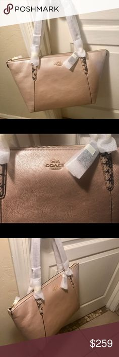 """NWT Authentic Metalic Gold Coach! Brand New With Tags✨Authentic COACH 💫🌟Metallic Leather W/Snake-Embossed Leather Trim Inside zip, cell phone and multifunction pockets Zip closure, fabric lining Handles with 9"""" drop 16 3/4"""" (L) x 9 3/4"""" (H) x 5"""" (W) Coach Bags Totes"""
