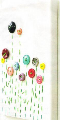 Schilderij op canvasdoek met oude knopen en borduurgaren. Wel handig om de knoopjes even vast te lijmen!