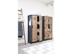 Elegant Schrank im Industriedesign Kleiderschrank mit sechs T ren aus Metall und Holz Breite cm