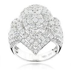 Luxurman 18k Gold 3 3/4ct TDW Diamond Drop Ring (F-G, VS1-VS2)