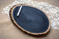 Tree Slice Chalkboard Rustic Wedding Decor by OurSweetSerendipity