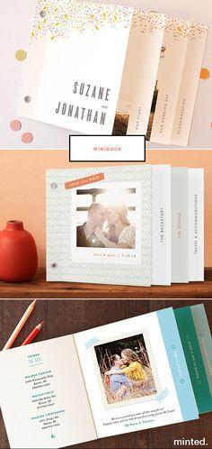 Pages différentes largeurs et effet couleur avec texte vertical, reliure par rivet. Idéal pour mini express!