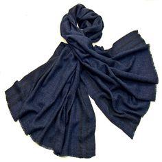 Etole laine fine bleu marine tissée avec rayures - Etole laine - Mes Echarpes