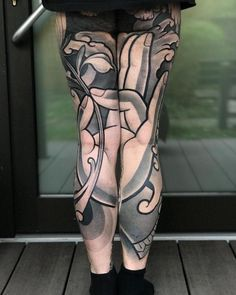 Buddhism inspired Japanese tattoo on two legs Leg Sleeve Tattoo, Leg Tattoo Men, Tattoo On, First Tattoo, Doodle Tattoo, Abstract Art Tattoo, Black Tattoo Art, Life Tattoos, Tattoos For Guys