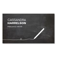 CHALKBOARD BUSINESS CARD FOR AUTHORS & WRITERS
