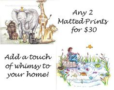 Special  Any Two Matted Prints  30.00 by PaintFabricWhimsy on Etsy