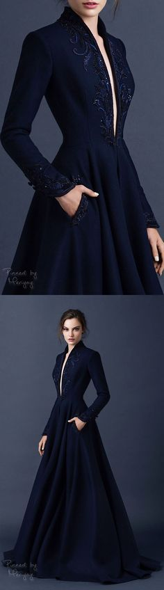 Elegant Navy Blue Long Evening Dress