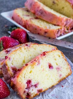 Strawberry Pound Cake is deliciously moist and flavorful; a one bowl treat topped with a sweet strawberry glaze. Strawberry Sheet Cakes, Homemade Strawberry Cake, Pound Cake With Strawberries, Strawberry Bread, Strawberry Glaze, Strawberry Cake Recipes, Recipes With Fresh Strawberries, Strawberry Hand Pies, Fresh Strawberry Cake