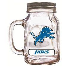 20 Ounce Mason Jar - Detroit Lions - BiggSports.com