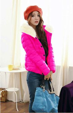 Thicken Warming Fur Collar Button Down Front Zip Hooded Down Coat for Women