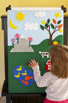 DIY simple felt board with mountain, tree, sun, moon, pond and barn. By Calm Cradle Photo & Design
