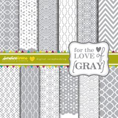 Printable Digital Paper  for_theloveof_gray_collage