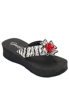 Grazie Ladies Leonora Black & White Zebra with Rose Cross Flip Flops... Size 9 please!