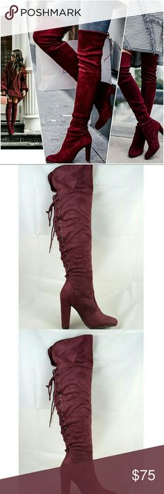 "Burgundy Back Lace Up Over the Knees Boots @blushonme at Poshmark   Burgundy back lace up over the Knees Boots  True to size   Heel - 4""  ● PRICE IS FIRM ●  Note: Actual item see pictures two and three. Stock photos used to show ways to style. Shoes Over the Knee Boots"