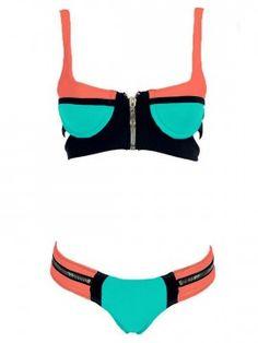 Shop Green Contrast Push-up Cut Out Bikini Top And Zipper Bottom from choies.com .Free shipping Worldwide.$18.89