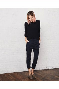 Photo via: Everlane Classic black and navy look inspiration care of pink-haired beauty Caroline...