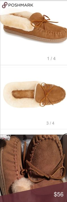 Minnetonka alpine sheepskin moccasin PRODUCT INFORMATION: Suede upper with rawhide laces. Easy slip-on. Sheepskin lining and footbed for optimal comfort and warmth. Durable rubber outsole. Imported. Real sheep fur has been artificially dyed and treated. Minnetonka Shoes Moccasins