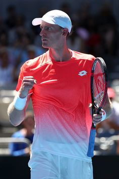 Day 1: Kevin Anderson of South Africa reacts in his first round match against Adrian Mannarino of France during day one of the 2019 Australian Open at Melbourne Park on January 14, 2019 in Melbourne, Australia.