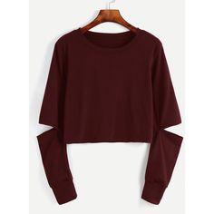 Burgundy Cut Out Sleeve Crop Sweatshirt ($12) ❤ liked on Polyvore featuring tops, hoodies, sweatshirts, burgundy, long sleeve crop top, red sweatshirt, red pullover, pullover sweatshirt and burgundy crop top