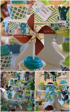 Pinwheel First Birthday Party on http://pizzazzerie.com @michel garrison. This is perfect for ethans party. Simple.