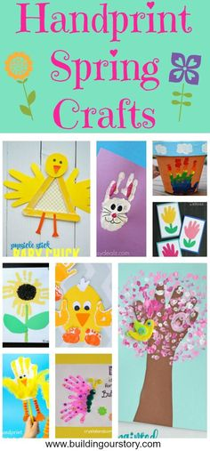 Handprint Spring Crafts for Kids, Easter crafts for kids, spring crafts for kids, crafts for kids, handprint crafts for kids, Popsicle Stick Baby Chick , Rainbow Handprint Flower Pot, QTip Painted Handprint Cherry Blossom Tree , Handprint Chick, Handprint Butterfly , Bunny Rabit Handprint, Handprint Flower Cards, Handprint Chick Puppets