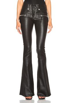 Unravel – Lace Front Flare Leather Pants in Black