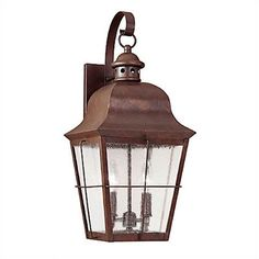 Sea Gull Lighting Colonial Styling Outdoor Wall Lantern in Weathered Copper | Wayfair
