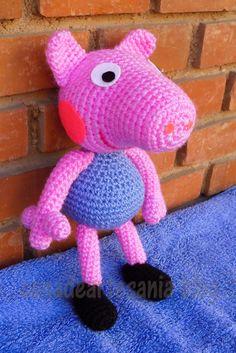 con A de artesanía: George Pig amigurumi