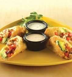 """Avocado Club Egg Rolls (a la California Pizza Kitchen) - recipe is at """"http://www.stltoday.com/lifestyles/food-and-cooking/recipes/avocado-club-egg-rolls-california-pizza-kitchen/article_c9d41c78-51da-5696-aeb0-1a70d258e2d6.html"""" and Hungry Girl version is at """"http://www.hungry-girl.com/chew/show/2477"""""""