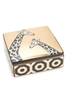 Free shipping and returns on Jonathan Adler 'Animalia - Giraffe' Trinket Box at Nordstrom.com. Hand-drawn animal illustrations are recreated against a gleaming golden background on a high-fired porcelain box, the perfect storage spot for rings, earrings and assorted trinkets.