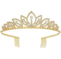 Tiara With Comb Bridal Shining Rhinestones Crystal Headband Pageant Princess Bridal Prom Decoration Party Wear Gold,,Christmas Day Products,Gifts Products
