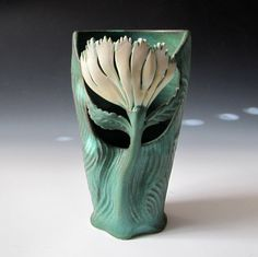 Art Nouveau style Flower Vase with carved design by MaidOfClay, $87.00