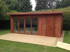 Combination wooden building case study- Wooden buildings that serve two purposes are easily possible at Bakers Timber Buildings. If you need a garden storage room and summerhouse, no problem! Timber Buildings, Garden Buildings, Garden Office Shed, Garden Sheds, Garden Log Cabins, Contemporary Garden Rooms, Outside Bars, Bike Shed, Outdoor Rooms