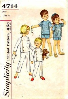 Simplicity 4714 Child's Intern Pajamas Vintage Sewing Pattern Check Offers for Size Simplicity Childrens Sewing Patterns, Vintage Sewing Patterns, Dr Kildare, Girl Inspiration, Simplicity Patterns, Top Stitching, Sewing Stores, Vintage Children, Sewing Crafts